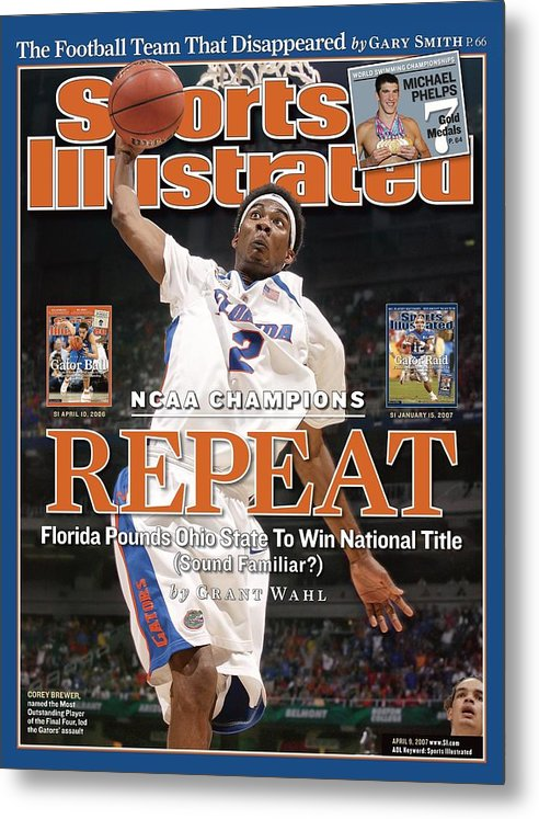 Atlanta Metal Print featuring the photograph Florida Corey Brewer, 2007 Ncaa National Championship Sports Illustrated Cover by Sports Illustrated