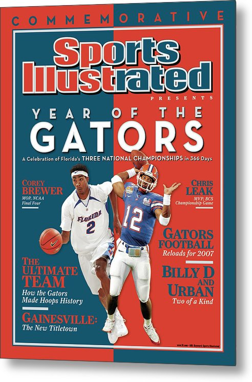 Magazine Cover Metal Print featuring the photograph Floridas Corey Brewer And Qb Chris Leak, Florida Gators Sports Illustrated Cover by Sports Illustrated