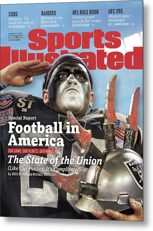 Magazine Cover Metal Print featuring the photograph Football In America The State Of The Union Sports Illustrated Cover by Sports Illustrated