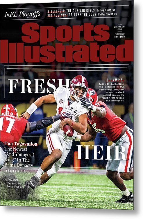 Atlanta Metal Print featuring the photograph Fresh Heir Tua Tagovailoa, The Newest And Youngest King* In Sports Illustrated Cover by Sports Illustrated