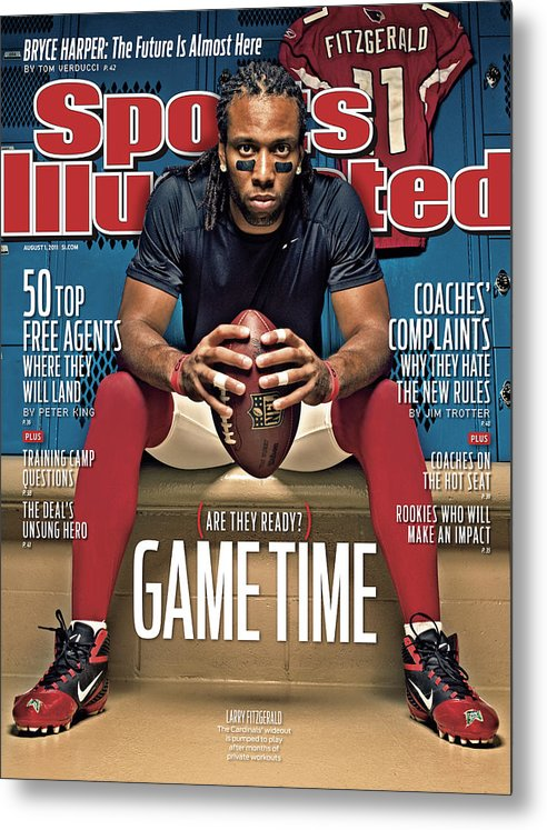 Larry Fitzgerald Metal Print featuring the photograph Gametime Are They Ready Sports Illustrated Cover by Sports Illustrated
