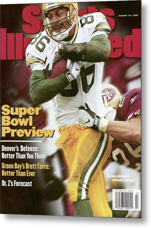 Candlestick Park Metal Print featuring the photograph Green Bay Packers Antonio Freeman, 1998 Nfc Championship Sports Illustrated Cover by Sports Illustrated