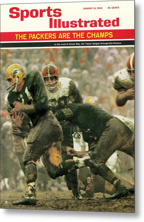 Green Bay Metal Print featuring the photograph Green Bay Packers Jimmy Taylor, 1966 Nfl Championship Sports Illustrated Cover by Sports Illustrated