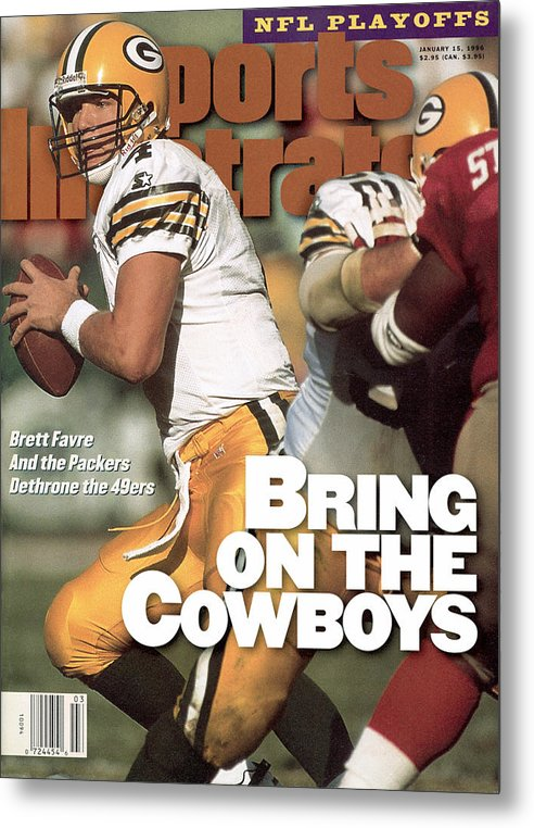 Candlestick Park Metal Print featuring the photograph Green Bay Packers Qb Brett Favre, 1996 Nfc Divisional Sports Illustrated Cover by Sports Illustrated