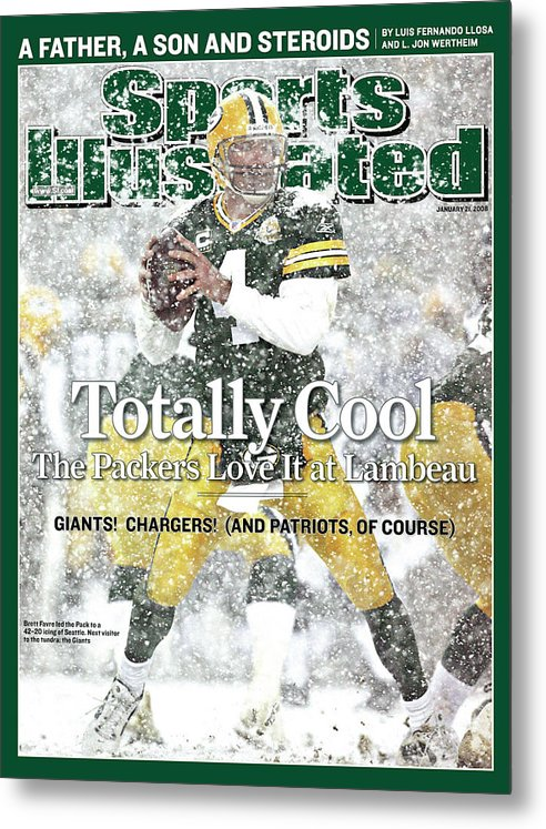 Playoffs Metal Print featuring the photograph Green Bay Packers Qb Brett Favre, 2008 Nfc Divisional Sports Illustrated Cover by Sports Illustrated