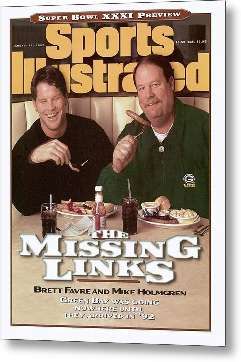 Green Bay Metal Print featuring the photograph Green Bay Packers Qb Brett Favre And Coach Mike Holmgren Sports Illustrated Cover by Sports Illustrated