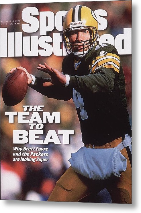 Brett Favre Metal Print featuring the photograph Green Bay Packers Qb Brett Favre... Sports Illustrated Cover by Sports Illustrated
