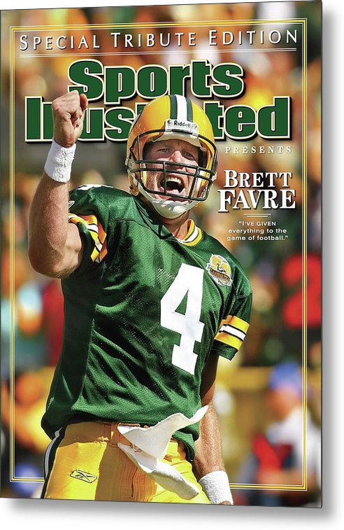 Green Bay Metal Print featuring the photograph Green Bay Packers Qb Brett Favre Special Tribute Edition Sports Illustrated Cover by Sports Illustrated