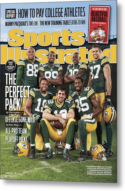 Green Bay Metal Print featuring the photograph Green Bay Packers The Perfect Pack Sports Illustrated Cover by Sports Illustrated