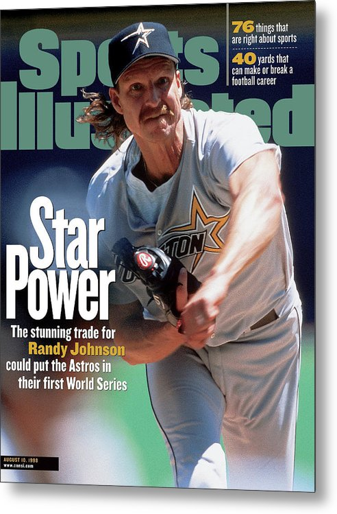 Sports Illustrated Metal Print featuring the photograph Houston Astros Randy Johnson... Sports Illustrated Cover by Sports Illustrated
