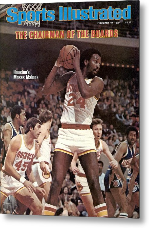 Magazine Cover Metal Print featuring the photograph Houston Rockets Moses Malone... Sports Illustrated Cover by Sports Illustrated