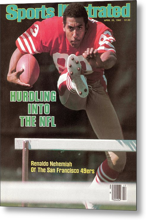 Candlestick Park Metal Print featuring the photograph Hurdling Into The Nfl Renaldo Nehemiah Of The San Francisco Sports Illustrated Cover by Sports Illustrated