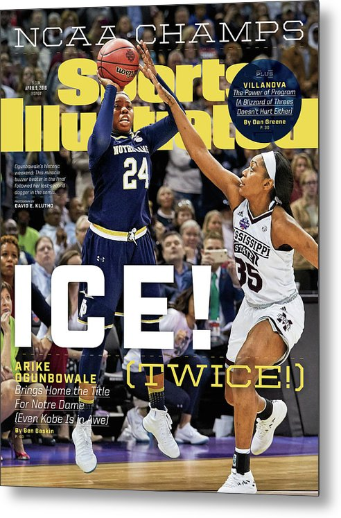 Point Metal Print featuring the photograph Ice Twice Arike Ogunbowale Brings Home The Title For Notre Sports Illustrated Cover by Sports Illustrated