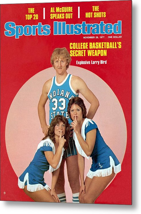 Magazine Cover Metal Print featuring the photograph Indiana State Larry Bird Sports Illustrated Cover by Sports Illustrated