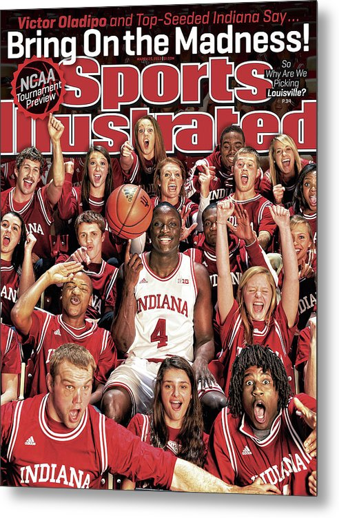 Magazine Cover Metal Print featuring the photograph Indiana University Victor Oladipo, 2013 March Madness Sports Illustrated Cover by Sports Illustrated