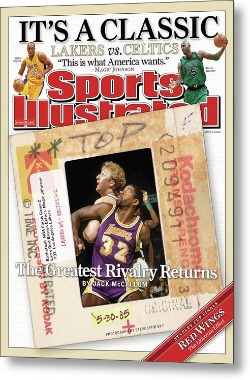 Magazine Cover Metal Print featuring the photograph Its A Classic, Lakers Vs. Celtics The Greatest Rivalry Sports Illustrated Cover by Sports Illustrated
