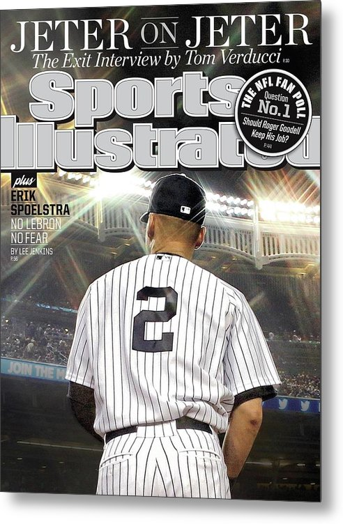 Magazine Cover Metal Print featuring the photograph Jeter On Jeter The Exit Interview Sports Illustrated Cover by Sports Illustrated