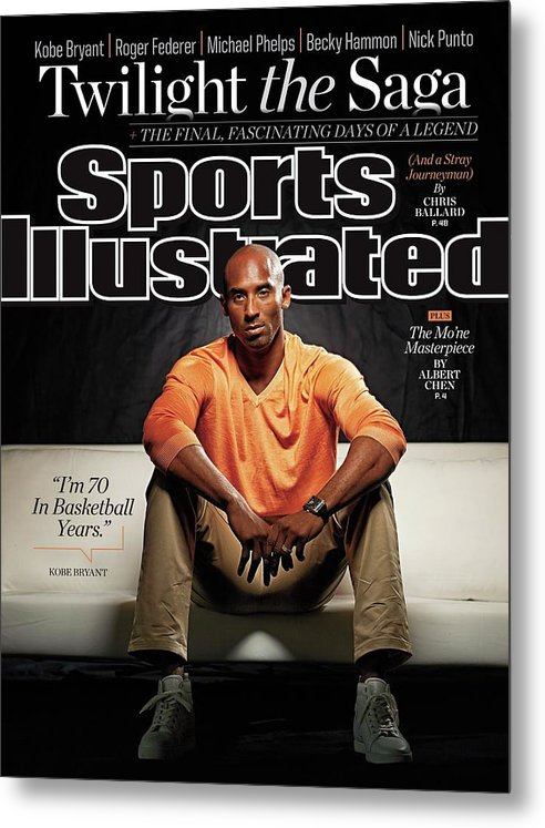Magazine Cover Metal Print featuring the photograph Kobe Bryant Twilight The Saga, The Final Fascinating Days Sports Illustrated Cover by Sports Illustrated