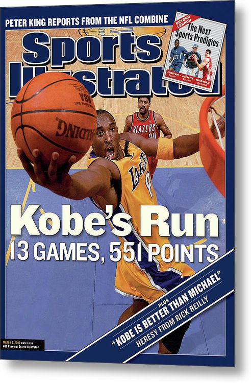 Magazine Cover Metal Print featuring the photograph Kobes Run 13 Games, 551 Points Sports Illustrated Cover by Sports Illustrated