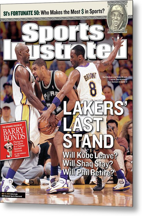 Magazine Cover Metal Print featuring the photograph Lakers Last Stand Will Kobe Leave Whill Shaq Stay Will Phil Sports Illustrated Cover by Sports Illustrated