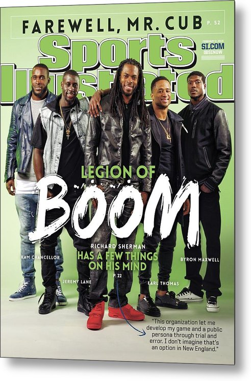 Magazine Cover Metal Print featuring the photograph Legion Of Boom, Super Bowl Xlix Preview Sports Illustrated Cover by Sports Illustrated