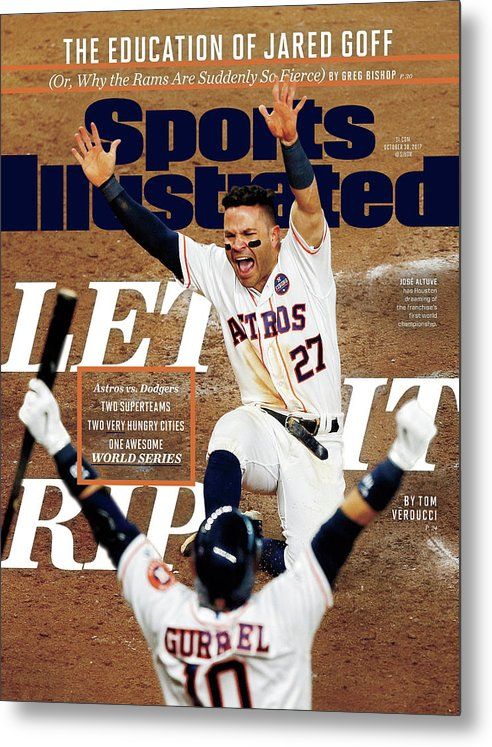 Yulieski Gourriel Metal Print featuring the photograph Let It Rip 2017 World Series Preview Issue Sports Illustrated Cover by Sports Illustrated