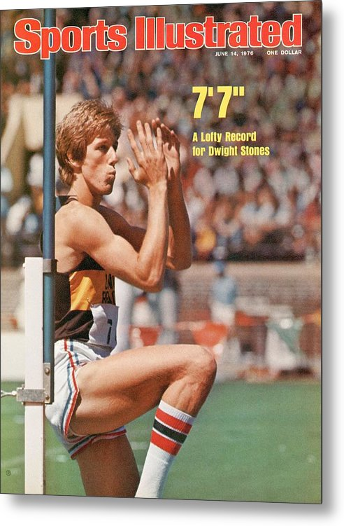 Magazine Cover Metal Print featuring the photograph Long Beach State Dwight Stones, 1976 Ncaa Championships Sports Illustrated Cover by Sports Illustrated