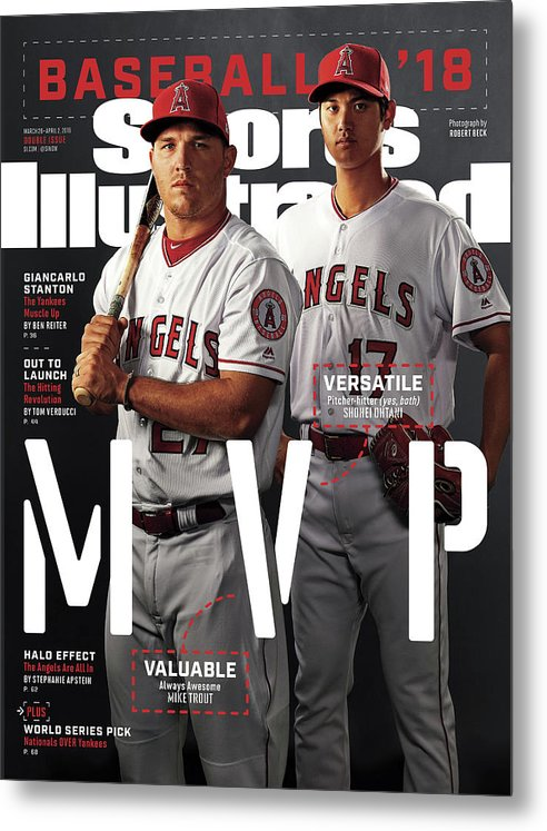 Tempe Diablo Stadium Metal Print featuring the photograph Los Angeles Angels Of Anaheim Mike Trout And Shohei Ohtani Sports Illustrated Cover by Sports Illustrated