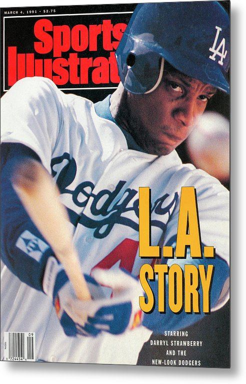 Magazine Cover Metal Print featuring the photograph Los Angeles Dodgers Darryl Strawberry Sports Illustrated Cover by Sports Illustrated