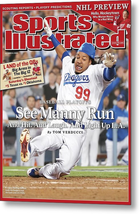 Magazine Cover Metal Print featuring the photograph Los Angeles Dodgers Manny Ramirez, 2008 Nl Division Series Sports Illustrated Cover by Sports Illustrated