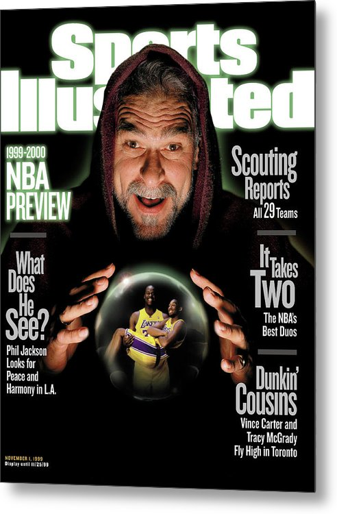 Magazine Cover Metal Print featuring the photograph Los Angeles Lakers Coach Phil Jackson, 1999-2000 Nba Sports Illustrated Cover by Sports Illustrated