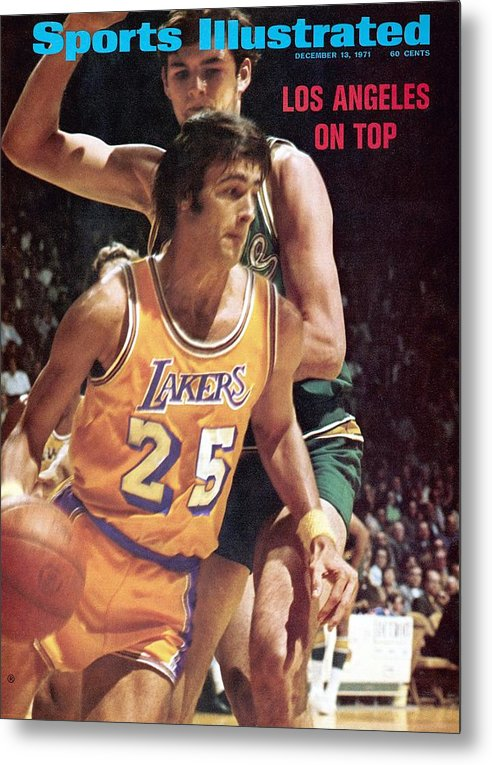 Magazine Cover Metal Print featuring the photograph Los Angeles Lakers Gail Goodrich... Sports Illustrated Cover by Sports Illustrated