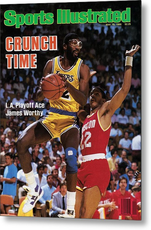 Playoffs Metal Print featuring the photograph Los Angeles Lakers James Worthy, 1986 Nba Western Sports Illustrated Cover by Sports Illustrated
