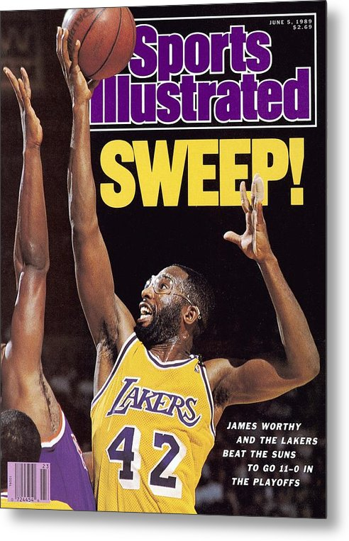 Magazine Cover Metal Print featuring the photograph Los Angeles Lakers James Worthy, 1989 Nba Western Sports Illustrated Cover by Sports Illustrated