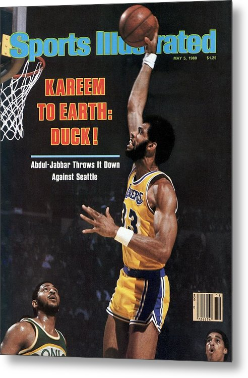 Magazine Cover Metal Print featuring the photograph Los Angeles Lakers Kareem Abdul-jabbar, 1980 Nba Western Sports Illustrated Cover by Sports Illustrated