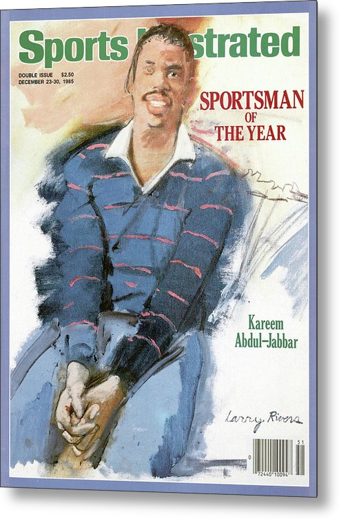 Magazine Cover Metal Print featuring the photograph Los Angeles Lakers Kareem Abdul-jabbar, 1985 Sportsman Of Sports Illustrated Cover by Sports Illustrated