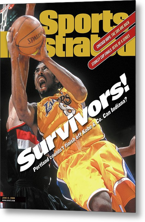 Playoffs Metal Print featuring the photograph Los Angeles Lakers Kobe Bryant, 2000 Nba Western Conference Sports Illustrated Cover by Sports Illustrated