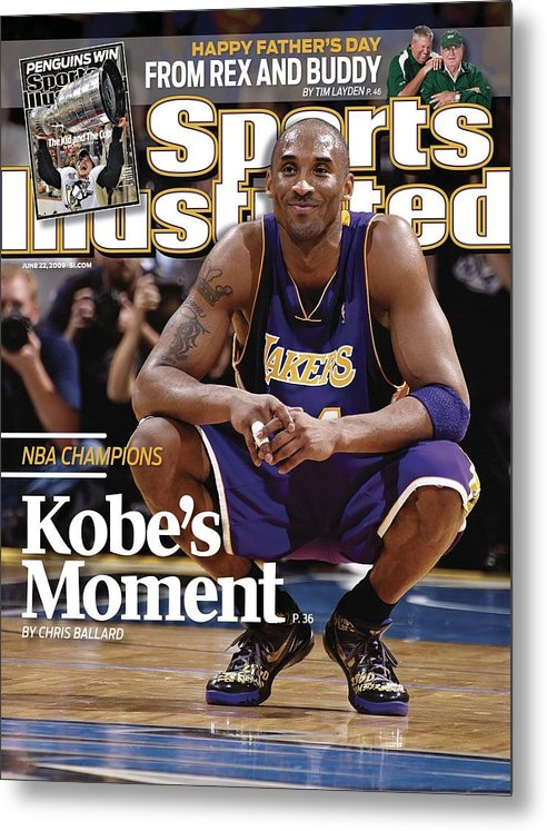 Magazine Cover Metal Print featuring the photograph Los Angeles Lakers Kobe Bryant, 2009 Nba Finals Sports Illustrated Cover by Sports Illustrated