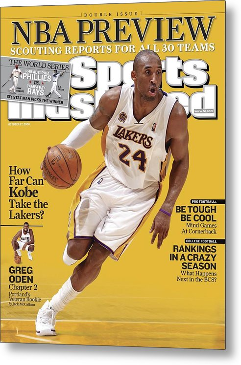 Nba Pro Basketball Metal Print featuring the photograph Los Angeles Lakers Kobe Bryant... Sports Illustrated Cover by Sports Illustrated