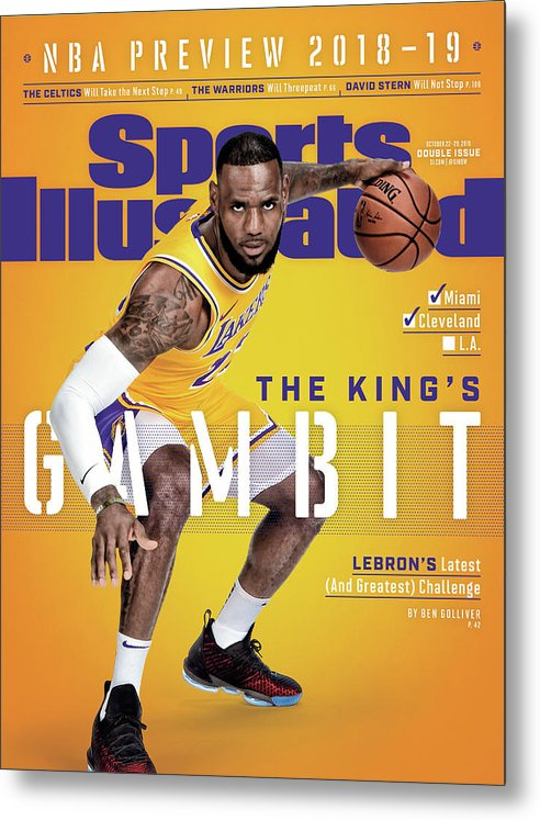 Magazine Cover Metal Print featuring the photograph Los Angeles Lakers LeBron James, 2018-19 Nba Basketball Sports Illustrated Cover by Sports Illustrated