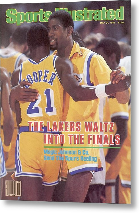 Magazine Cover Metal Print featuring the photograph Los Angeles Lakers Magic Johnson, 1982 Nba Western Sports Illustrated Cover by Sports Illustrated