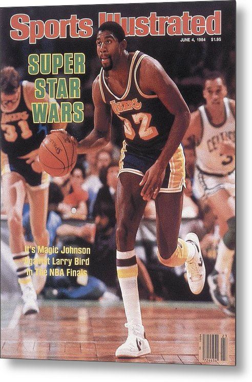 Playoffs Metal Print featuring the photograph Los Angeles Lakers Magic Johnson, 1984 Nba Finals Sports Illustrated Cover by Sports Illustrated