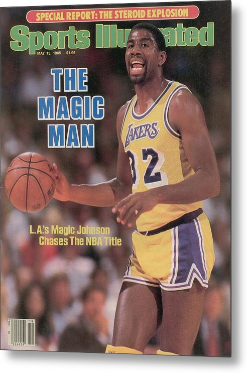Playoffs Metal Print featuring the photograph Los Angeles Lakers Magic Johnson, 1985 Nba Western Sports Illustrated Cover by Sports Illustrated