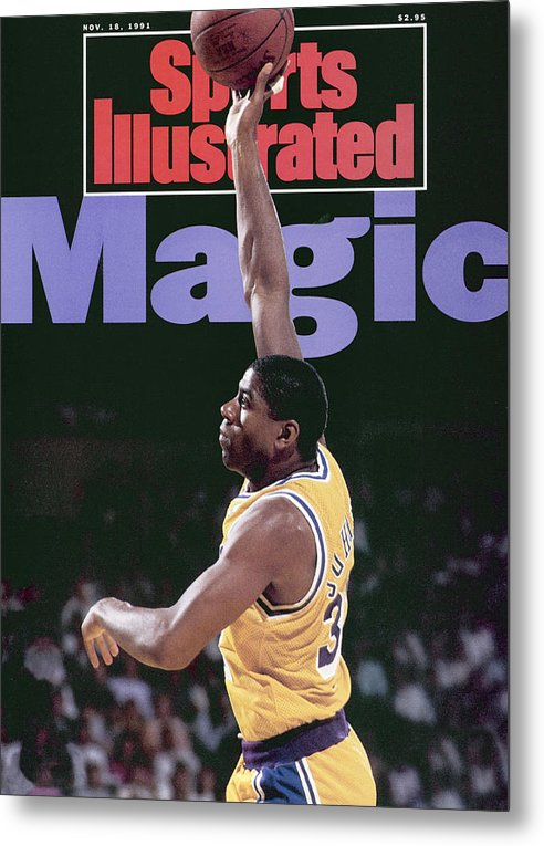 Playoffs Metal Print featuring the photograph Los Angeles Lakers Magic Johnson, 1990 Nba Western Sports Illustrated Cover by Sports Illustrated