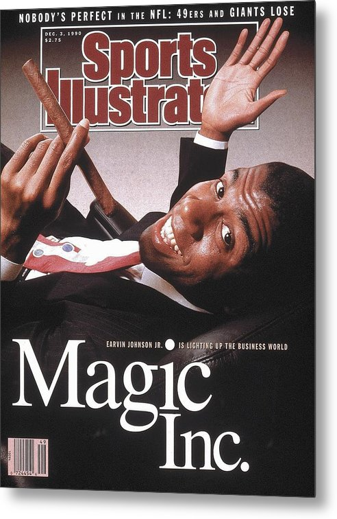 Magazine Cover Metal Print featuring the photograph Los Angeles Lakers Magic Johnson Sports Illustrated Cover by Sports Illustrated