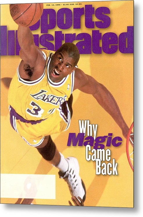 Chicago Bulls Metal Print featuring the photograph Los Angeles Lakers Magic Johnson Sports Illustrated Cover by Sports Illustrated
