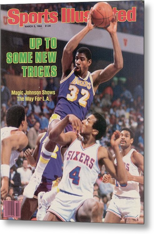 1980-1989 Metal Print featuring the photograph Los Angeles Lakers Magic Johnson... Sports Illustrated Cover by Sports Illustrated