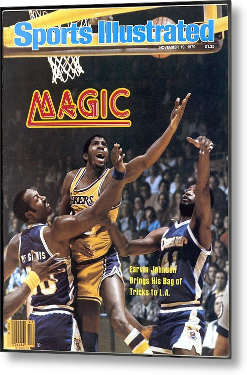Magazine Cover Metal Print featuring the photograph Los Angeles Lakers Magic Johnson... Sports Illustrated Cover by Sports Illustrated