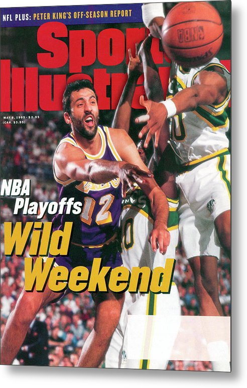 Playoffs Metal Print featuring the photograph Los Angeles Lakers Vlade Divac, 1995 Nba Western Conference Sports Illustrated Cover by Sports Illustrated