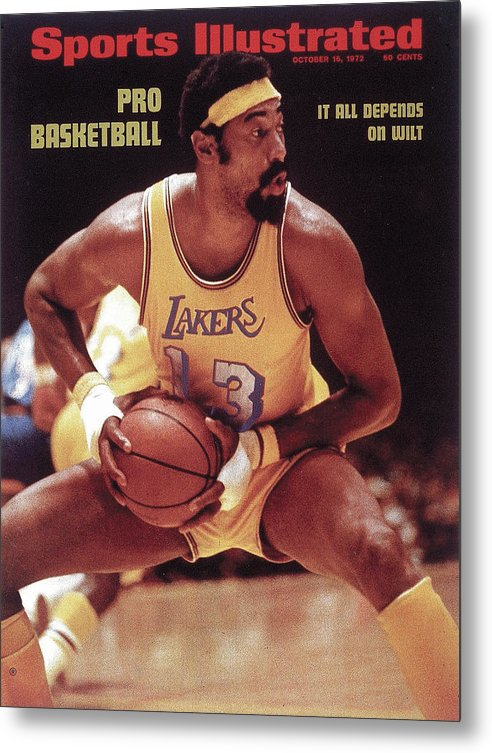 Magazine Cover Metal Print featuring the photograph Los Angeles Lakers Wilt Chamberlain, 1972 Nba Western Sports Illustrated Cover by Sports Illustrated